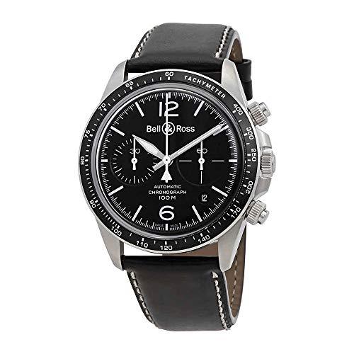 Bell and Ross Vintage V2-94 Cronografo automatico quadrante nero orologio da uomo BRV294-BL-ST/SCA