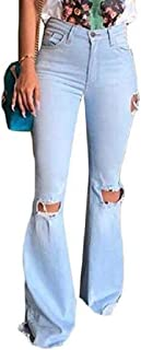 Women Skinny Retro Ripped Distressed High Waisted Bell Bottom Jeans Denim Pants