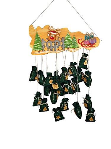 Petra's Bastel News Bastelset für Adventskalender Rentier mit Zaun inkl. Holzteile, gravierte Adventskalenderzahlen, Holz, Holzfarben, 45 x 35 x 10 cm