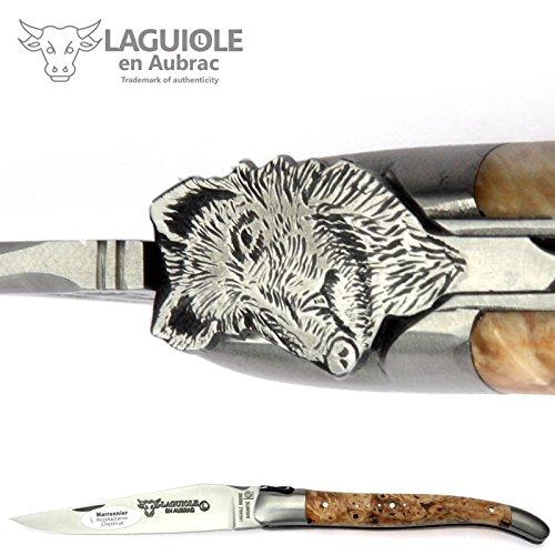 LAGUIOLE en Aubrac Taschenmesser - Sondermodell Wildschwein - Griff Rosskastanie - 12 cm Messer aus Frankreich - Klinge und Backen satiniert