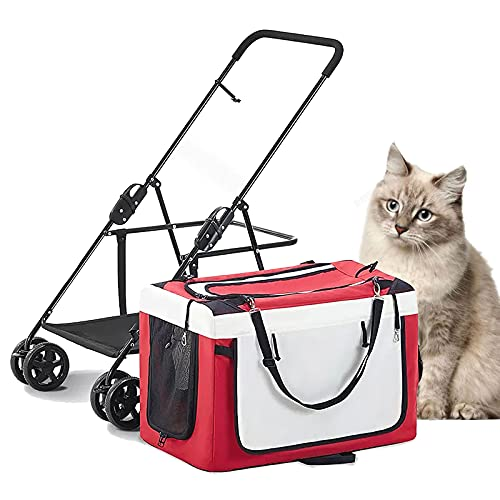 MIAE Cochecitos para Mascotas para Perros Pequeños, Porta Gatos Plegable con Un Clic, Jaula para Mascotas Separable con Freno Y Ventana De Red, Suficiente Espacio Y Transpirabilidad
