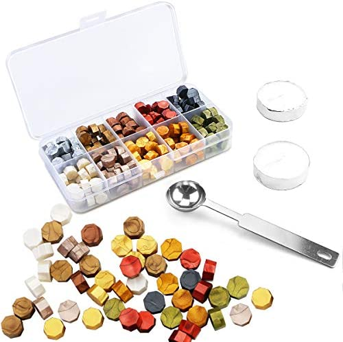 Pralb 200Pcs Octagon Sealing Wax Beads Kit in Plastic Box with 2pcs Candle and Melting Spoon product image