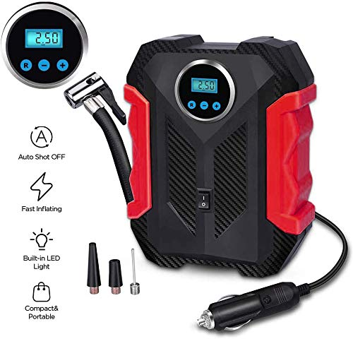 Awindshade Portable Air Compressor for Car Tires, Portable Digital Car Tire Inflator, 12V DC with Emergency LED Flashlight for Cars, Motorcycles, Bikes (Red)