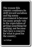 The reason this country continues its drift to... - Lyn Nofziger - quotes fridge magnet, Black