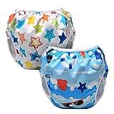 Luxja Schwimmwindel wiederverwendbar (2 Stück), Baby Schwimmhose Verstellbarer, Waschbar Schwimmwindel für Baby (0-3 Jahre), Strand + bunte Sterne
