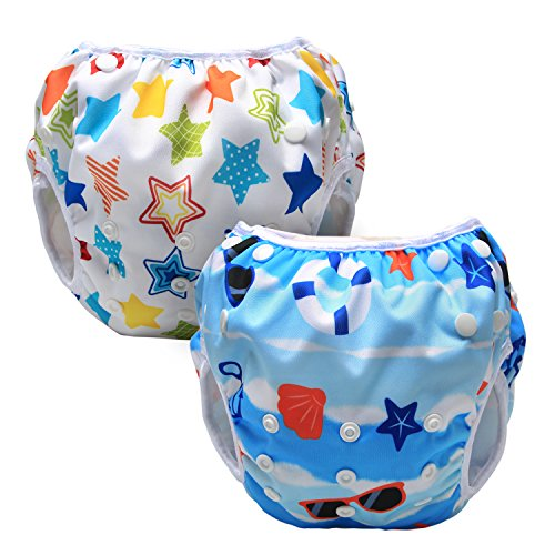 Luxja Couches de Bain, Bébé Maillot de Bain 2PCS, Lavable, Réutilisable, Ajustable, Pour les enfants de 0-3 ans, Plage + Étoiles colorées