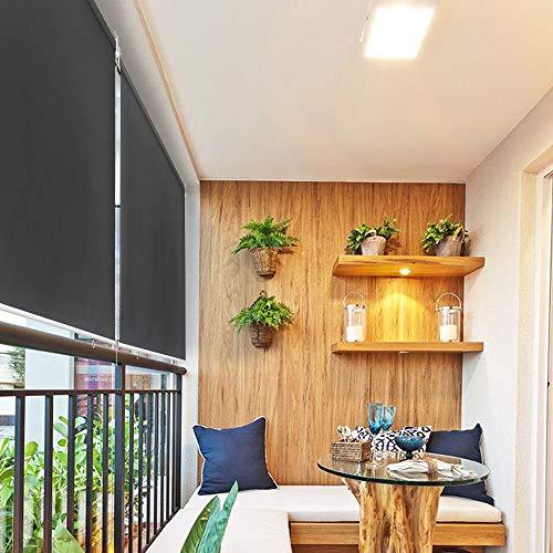 HENGMEI 180X140cm Balkon Sichtschutz Sonnenschutz Sichtschutzrollo Senkrechtmarkise Wasserdicht Windschutz vertikal Sonnensegel für Balkon Terrasse,Anthrazit