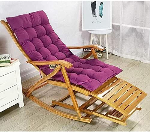 Cómoda silla mecedora reclinable ajustable para adultos, plegable, para el almuerzo, para verano, con reposabrazos y reposapiés de masaje (color : silla+colchoneta d)-silla