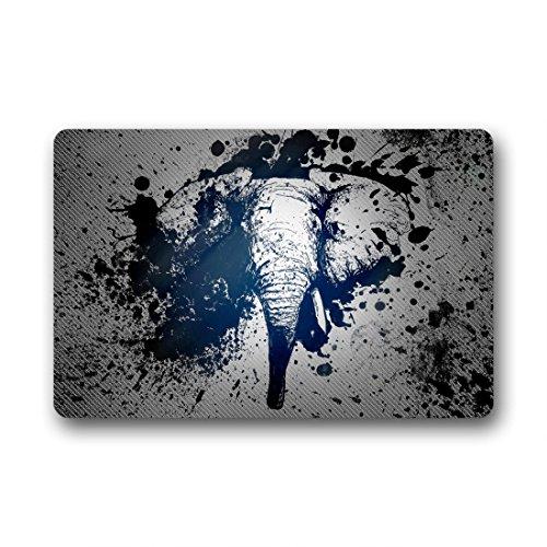Doubee Art éléphant Mignon Elephant Paillasson Premium Tapis Anti-Poussière rectangulaire antidérapant Porte Tapis en Plein air intérieur 60 cm x 40 cm, Tissu, E, 23.6\