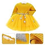 Tutu in maglia a maniche lunghe per neonato Abito in tulle con principessa infantile e gonna in misto cotone per bambini(100-Giallo)