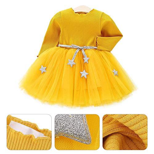 Vestido de tutú de punto con mangas largas para bebés Vestido de tul con princesa infantil y falda con mezcla de algodón con cintura de estrellas para niños(90-Amarillo)