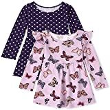 The Children's Place Baby Toddler Girls Butterfly Dot Babydoll Dress 2-Pack, Lovely Lilac, 5T