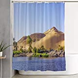 Shower Curtain for Bathroom Nil Aswan River Cruise Nile Egypt Landscape Luxor Panoramic Life Nails On Nature Delta Cairo Boat Cloth Shower Curtain Polyester Fabric Machine Washable 72x72 Inch