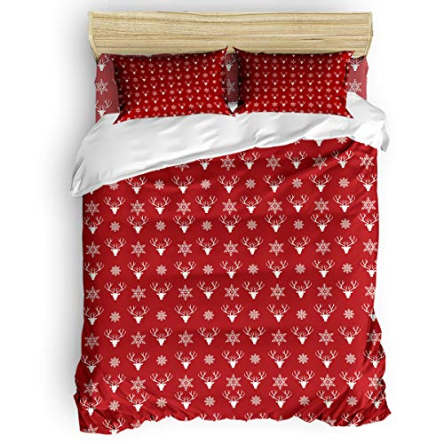 Christmas for Kids Girls with Zipper Closure Ultra Soft Easy Care Bedding Set Queen (4pc Set, 1 Comforter Cover + 2 Pillow Shams + 1 Flat Sheet) Reindeer Head and Snowflakes Silhouette Red White
