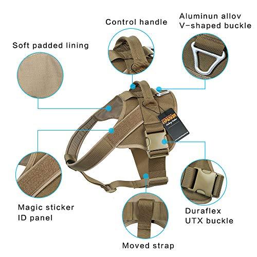 EXCELLENT ELITE SPANKER Tactical Dog Harness Patrol K9 Harness Service Dog Vest Military Dog Vest Working Dog Vest with Handle(Coyote Brown-L)