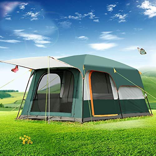 F&zbhzy Tenda 5-8 Persone 2 Strati di spazi Esterni 2 posti e Tenda da Campeggio per Famiglie in Tenda Grande Spazio, Verde