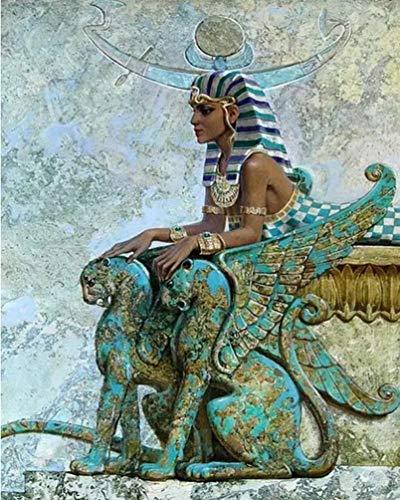 PPTRTYQ Malen nach Zahlen für Erwachsene Kinder Ägyptische Frau der Bronzestatue 16x20 Zoll Leinen Leinwand DIY Digitales Malen nach Zahlen Kits Kinder Spielzeug Geschenke Handgemalte Dekoration