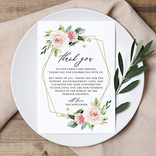 Bliss Collections Wedding Reception Thank You Cards - Pack of 50 Geometric Floral Cards - Great Addition to Your Table Centerpiece, Place Setting and Wedding Decorations, Each Card is 4x6, USA Made