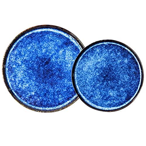 Platos de cena, juego de cena resistente, platos de cerámica, 4 piezas Cat's Eye Blue Professional Gourmet Ruffle Plato de pasta de porcelana con volantes y cambio de horno Juego de platos planos para