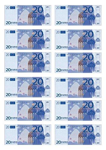 Tortendekoration aus Esspapier, Motiv: 20-Euro-Schein, für Cupcakes, Kuchen, Geburtstag, Feiern, 12 Stück