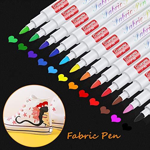 Baozun Textilstifte Textilmarker 12 Farben Waschmaschinenfest Stoffmalstifte Waschfest Permanent Stoffmalfarben Stifte für T Shirt, Jutebeutel, Stoffbeutel