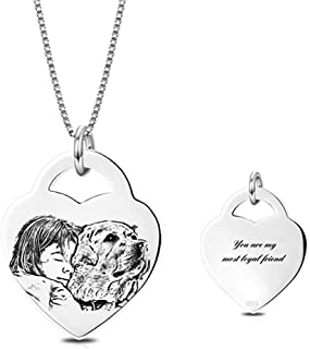 925 Sterling Silver Personalized Photo Necklace Custom Any Names Words Heart Rectangle Necklace Engraved Pendant Tag Family Birthday for Mom Father's Day Teacher
