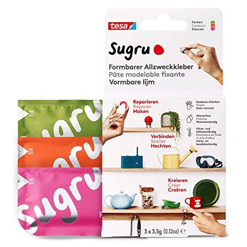 tesa Sugru Colla modellabile, adesivo forte per tutti gli usi, confezione da 3 (3 x 3.5 g) in rosa, arancione e verde