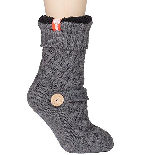 Womens Sweater Design Super Thick Comfy Non-Skid Slipper Socks (Charcoal Grey)