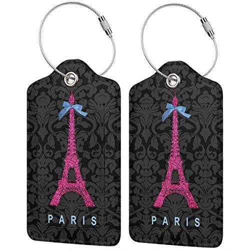 Tour Eiffel in finto glitter rosa caldo bagagli valigia porta documenti Intial Bag Holders con cinghie regolabili per viaggi di lavoro, 2 per set