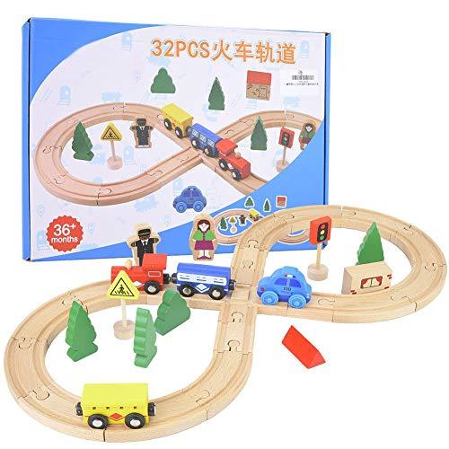 Tren de riel de madera, conjunto de bricolaje Conjunto de tren de madera Rieles de tren de doble cara con carro para niños pequeños de 3 años