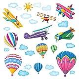 DECOWALL DW-1301 6 Globos Aerostáticos y 5 Biplanos en el Cielo Vinilo Pegatinas Decorativas Adhesiva Pared Dormitorio Salón Guardería Habitación Infantiles Niños Bebés