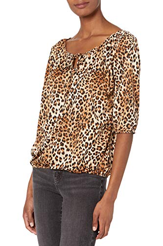 Star Vixen Women's 3/4 Sleeve Peasant Top with Keyhole Tie and Elastic Bottom Hem, Leopard, X-Large