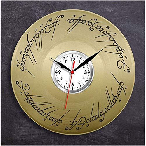 Orologio da Parete in Vinile Il Signore degli Anelli nostalgico retrò da 12 Pollici, Orologio da Parete Muto Creativo per la Decorazione Domestica, Oro