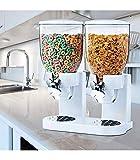 Wonduu Dispensador de Cereales Doble Blanco con Rueda Giratoria, Contenedor Doble de 500g Cada Contenedor, Dosificador Giratorio de Porciones de 28g