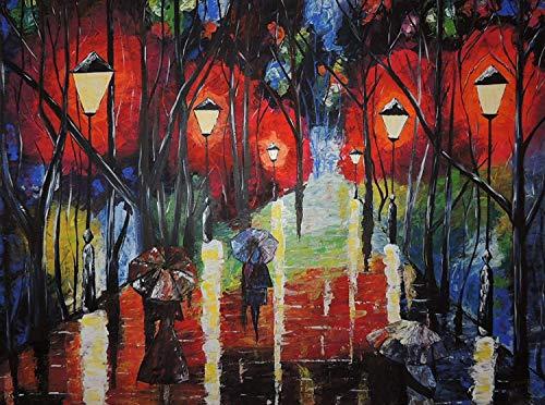 Adult Puzzle Klassisches Puzzle 1000-Teiliges Acrylbild Von Menschen Im Regen Holzpuzzle, Interessantes DIY-Spielzeug Personalisiertes Geschenk Für Ältere Kinder Und Erwachsene 75X50 cm