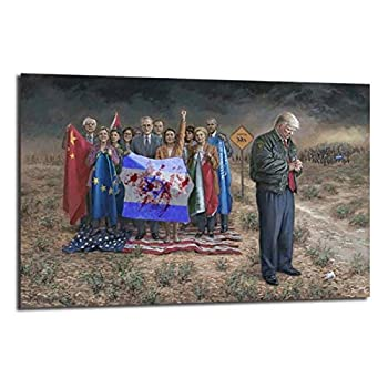 KONGQTE American President Canvas Painting Donalds Trumps Poster National Emergency Prints Picture Modular for Living Room Wall Decor -24x36 in No Frame