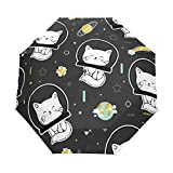 3 Folds Parapluie Cats and Planets Auto Open Close Anti-UV Parapluie