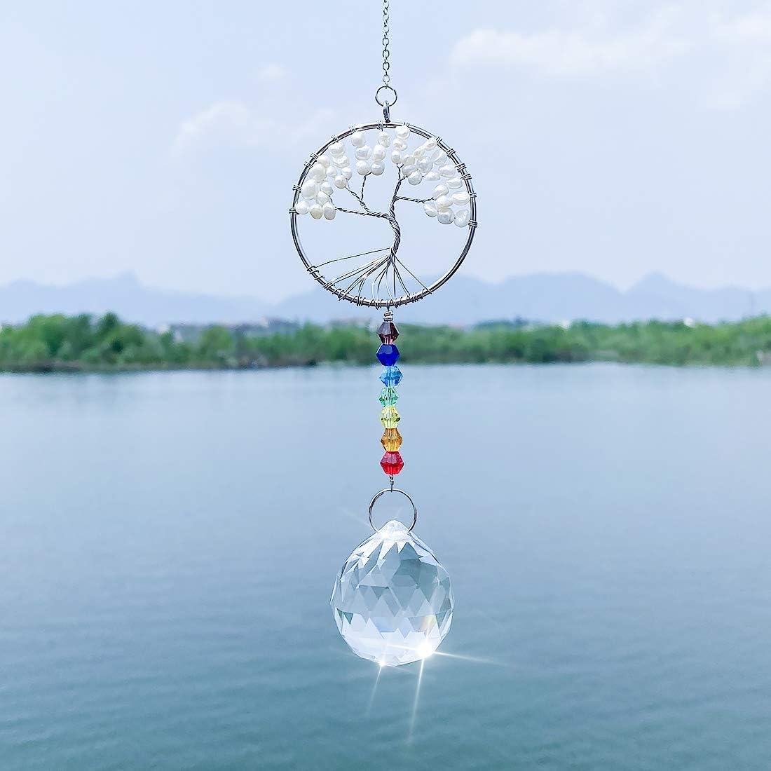 LONGSHENG Since 2001 Chakra Imitation Pearls Tree Of Life Chandelier Suncatcher For Windows Hanging Fengshui Crystal Rainbow Ornaments Mix 2 Style 2pcs