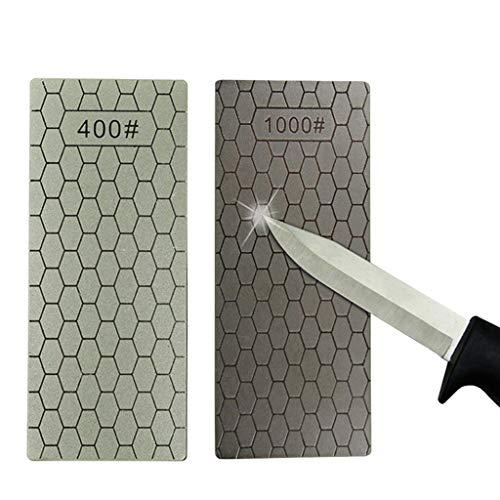 Wffo 400/1000# - Juego de 2 Herramientas de Pulido de Piedra de afilar de Diamante, 2 Piezas, Dos Tipos en Diferentes Superficies, Granos y tamaños