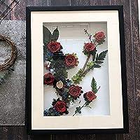 枯れない花 フォトフレーム プリザーブドフラワー 置物 バラ フラワー 枯れない 装飾品 プレゼント JFYJP (Color : 04, Size : One Size)