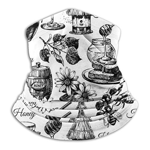 Lzz-Shop Honing Seamless patroon met handgetekende schetsen, halsdoek, viskop, gezicht, sportsjaal