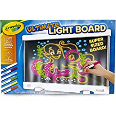 CRAYOLA ULTIMATE LIGHT BOARD: Features Crayola Light Up Drawing Tablet with 6 Mini Washable Gel Markers LIGHT UP TOY: Remove the back of this kids toy to trace glowing designs, or keep it blank to make your own ORGANIZE & TRAVEL FRIENDLY: Built-in ma...