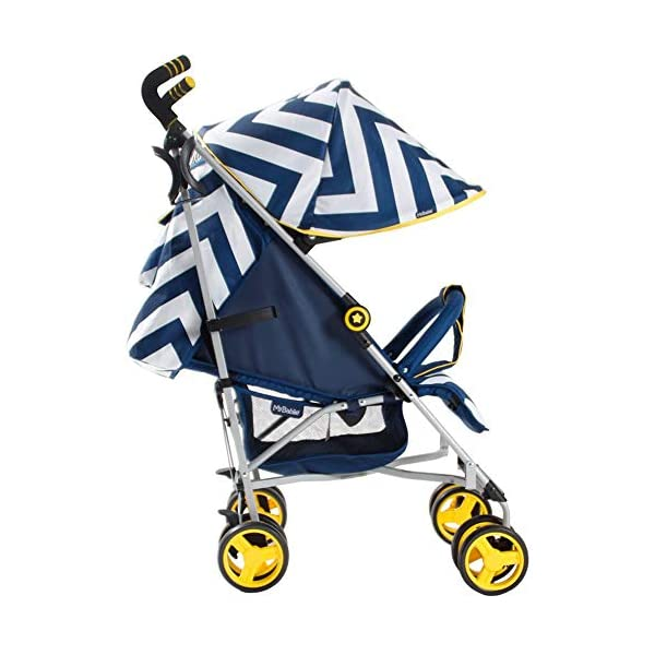 My Babiie MB02 Blue Chevron Stroller My Babiie Suitable from birth to maximum 15kg Extendable 3 position canopy Lockable swivel front wheels 2