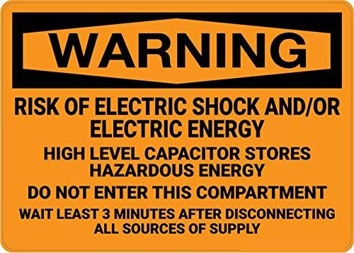 Mesllings Señal de seguridad de metal, riesgo de choque eléctrico, energía eléctrica, 12 x 18 pulgadas