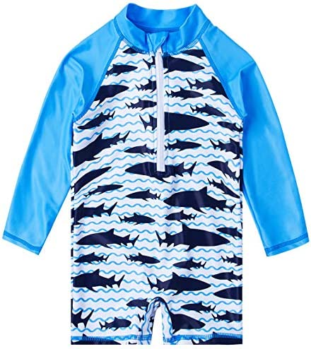 uideazone Summer Baby Boys 3D Shark Printed Rash Guard Swimsuit UV Long Sleeve Sunsuit One Piece product image