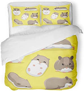 Emvency 3 Piece Duvet Cover Set Breathable Brushed Microfiber Fabric Face Cute Hamster Poses Cartoon Mouse Standing Adorable Animal Character Front Bedding Set with 2 Pillow Covers Full/Queen Size