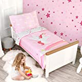 TILLYOU 5 Pieces Unicorn Toddler Bedding Set (Embroidered Quilt, Fitted Sheet, Flat Sheet, Pillowcases) - Microfiber Printed Nursery Bedding for Girls, Pink Unicorn