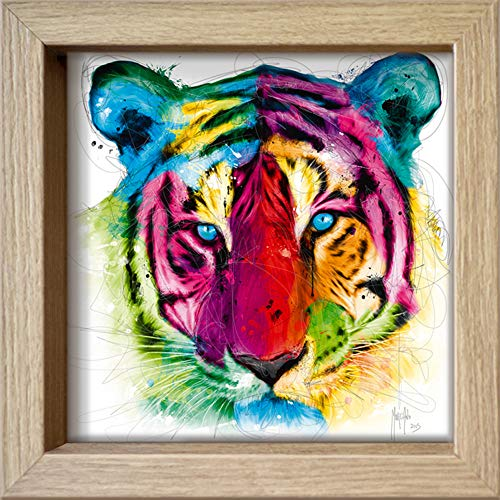 International Graphics Ingelijste briefkaart - MURCIANO, Patrice - ''Tiger Pop' - 16 x 16 cm - houten lijst