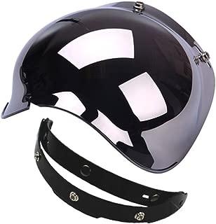1STorm Universal 3 Snap Button Flip Up Visor Chrome Bubble Shield Lens for Retro Vintage Open Face Motorcycle Helmet