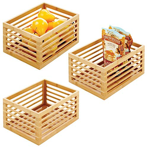 mDesign Organizador de cocina de bambú – Caja de almacenaje ecológica para el armario de la cocina, la estantería o la encimera – Caja multiusos para alimentos – Juego de 3 – color natural